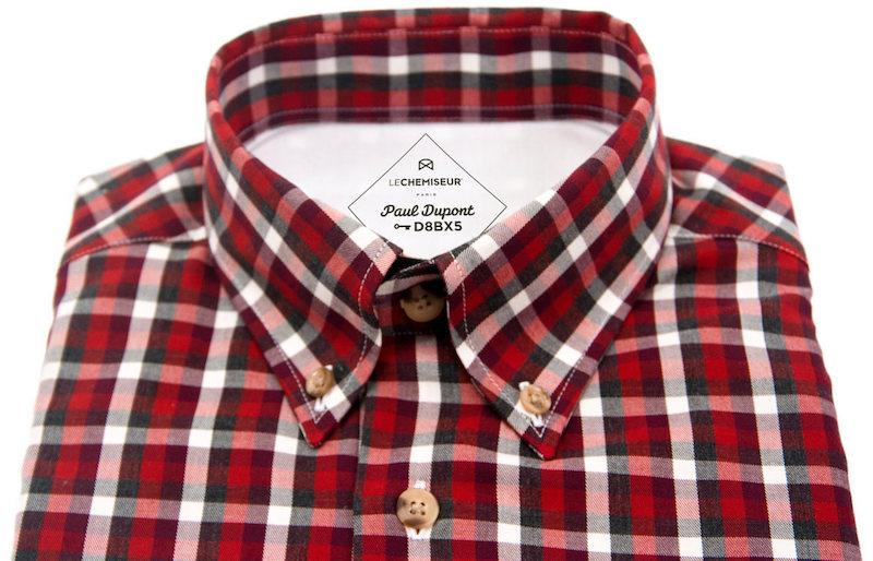 chemise sur mesure avec clé de coupe sur son étiquette