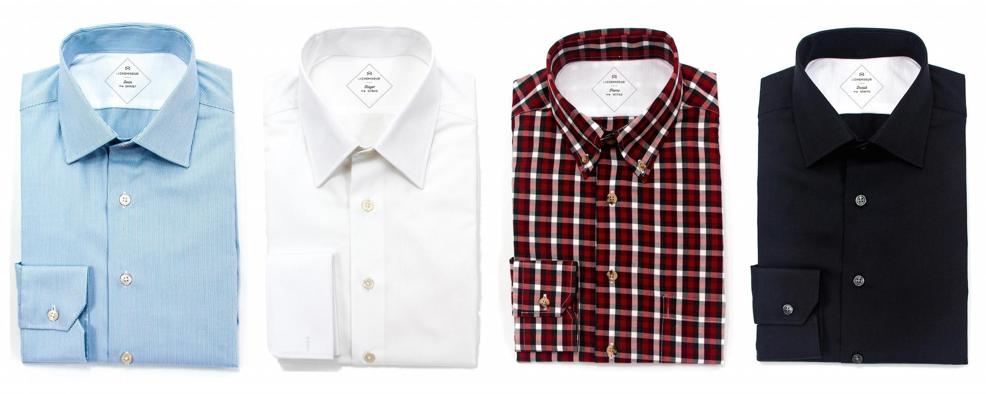 Chemises sur mesure bleue blanc rouge noire