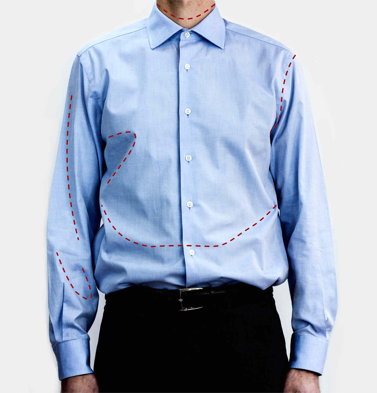 mesure d'une chemise existante pour créer une chemise sur mesure