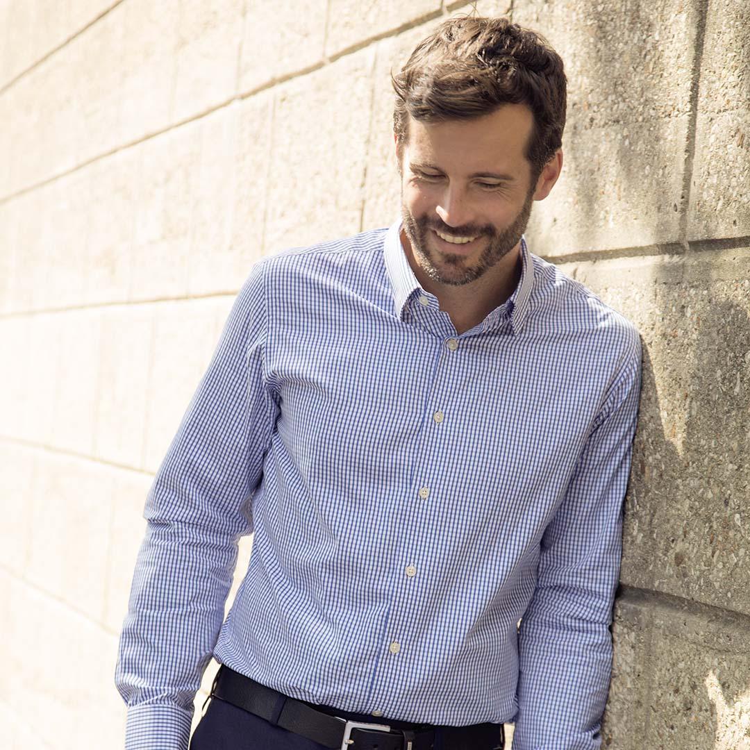 chemise homme popeline a carreaux vichy bleue