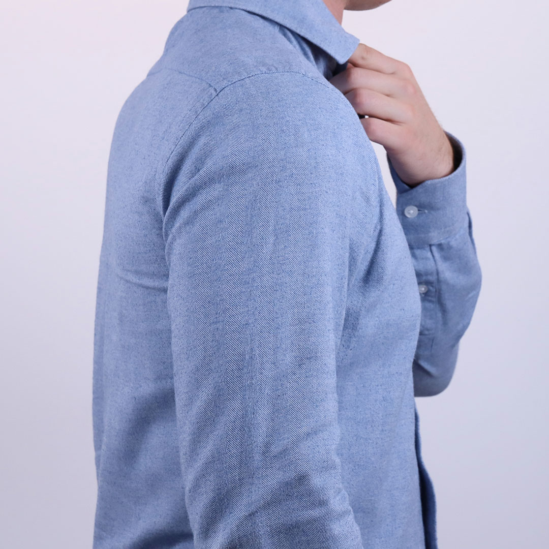chemise homme flanelle bleue