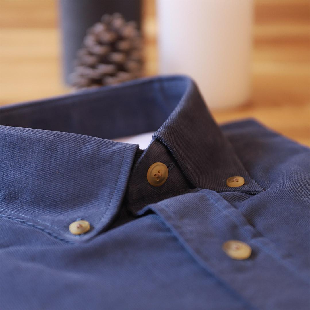 chemise homme velours bleu