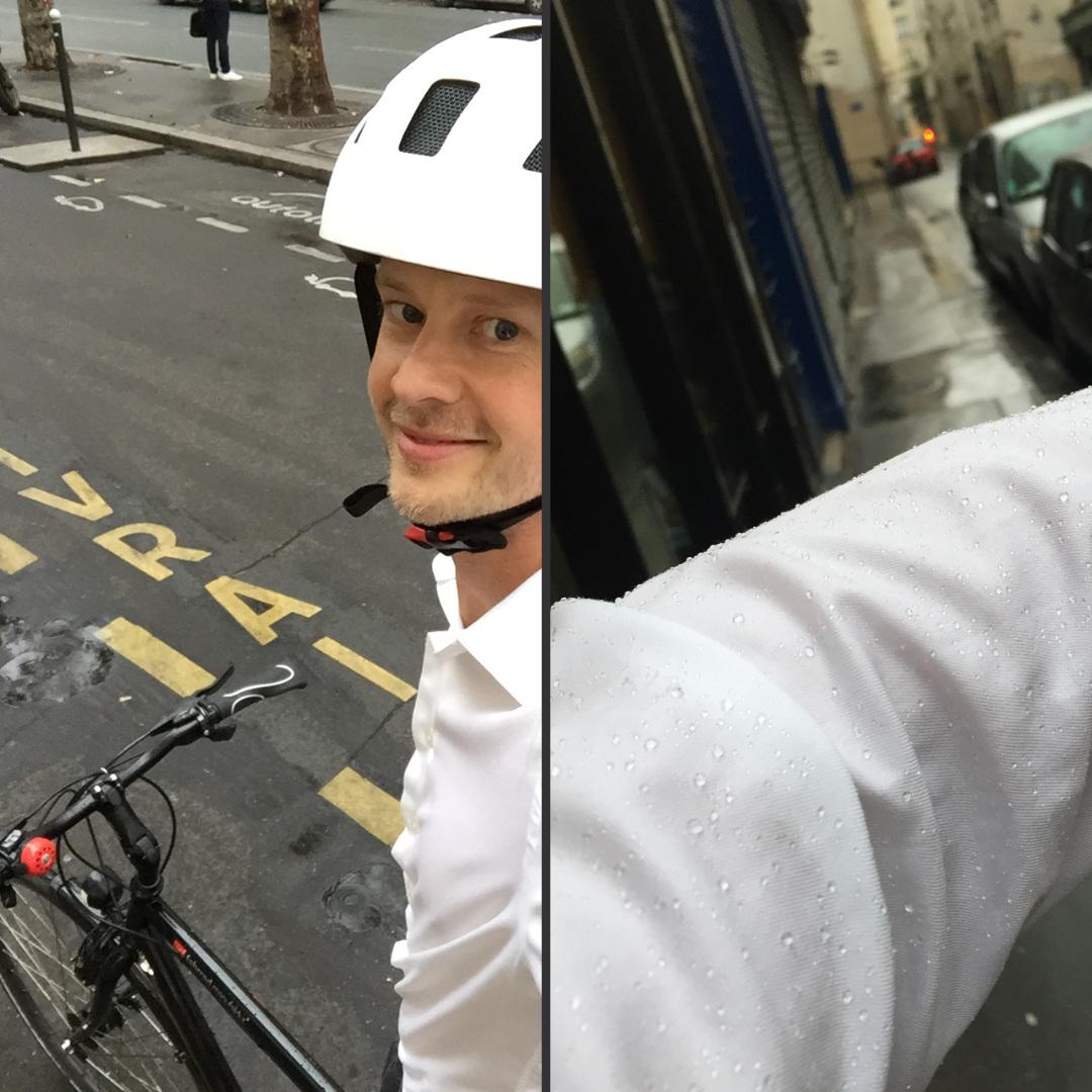 chemise homme déperlante induo sous la pluie dans paris