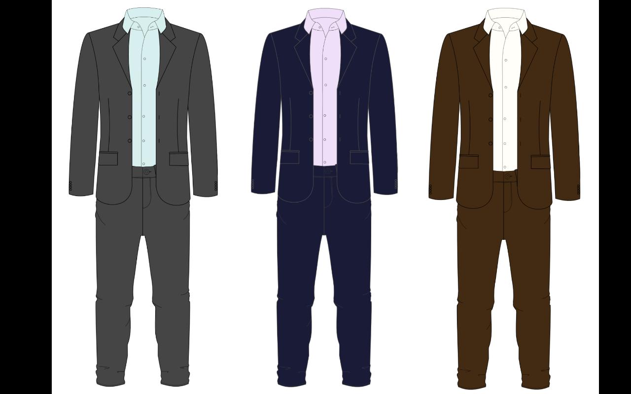 chemises et costumes à porter pour un homme contrasté