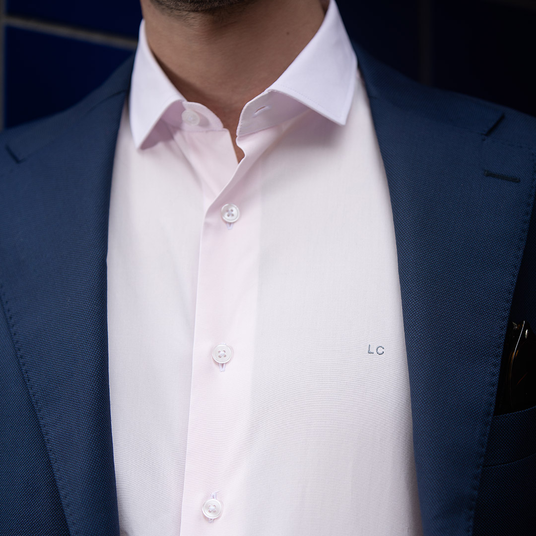chemise homme rose initiales