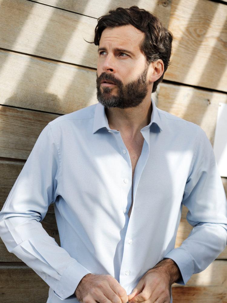 chemise homme recyclé bleu ciel
