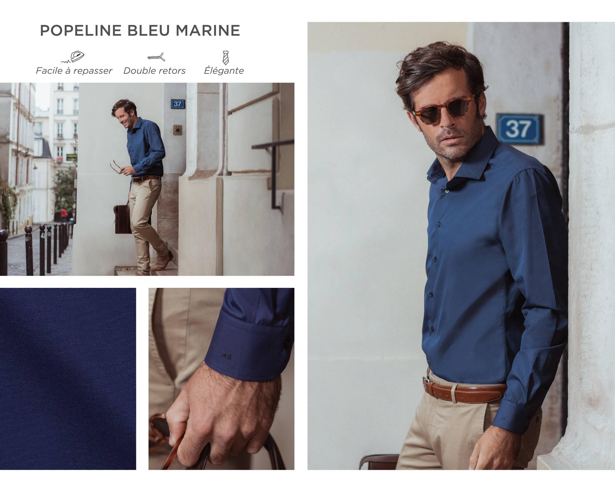 chemise homme popeline bleu marine
