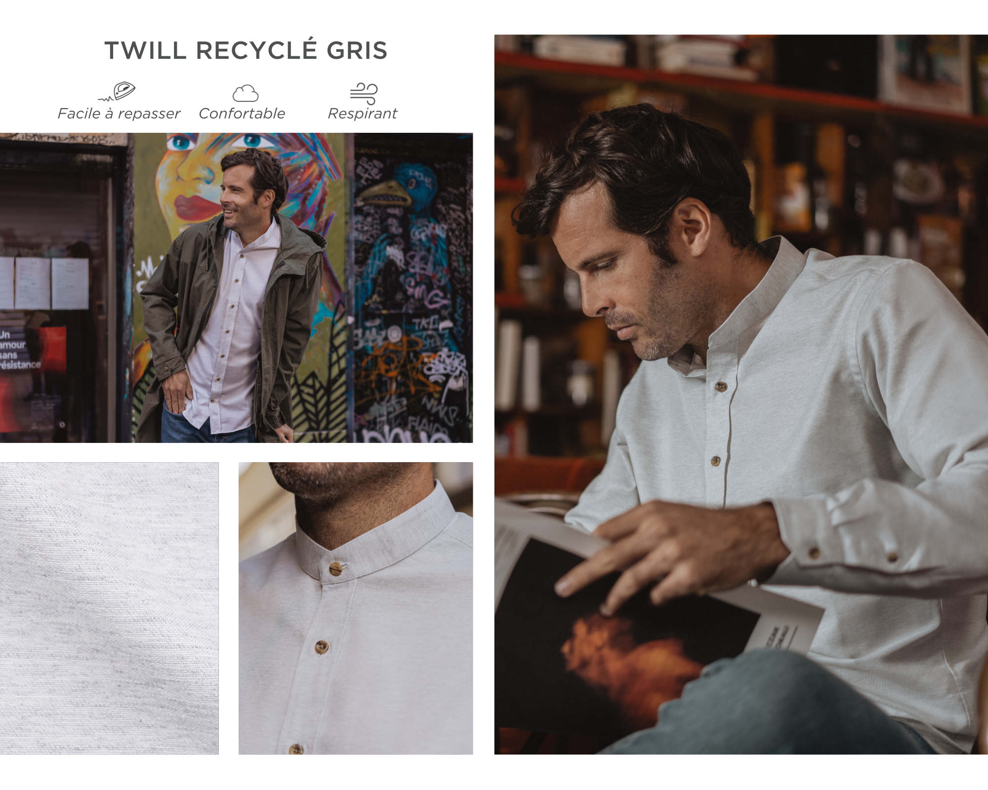 chemise homme twill recyclé