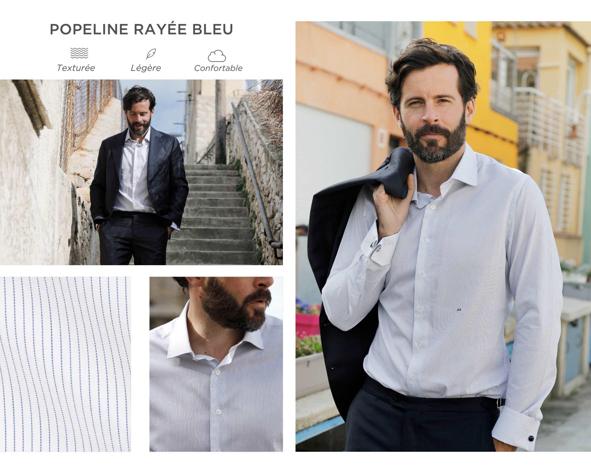 chemise homme été bleu