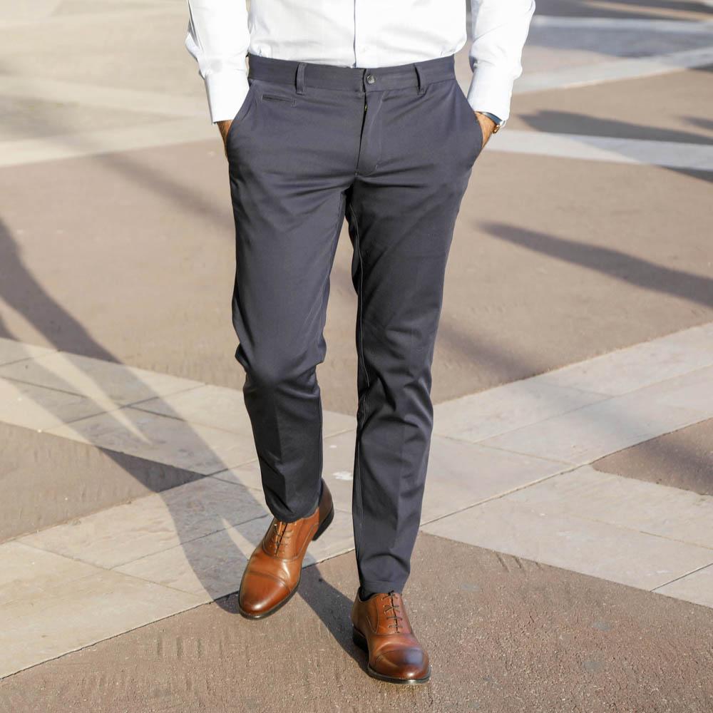 pantalon homme coupe tendance chino bleu marine