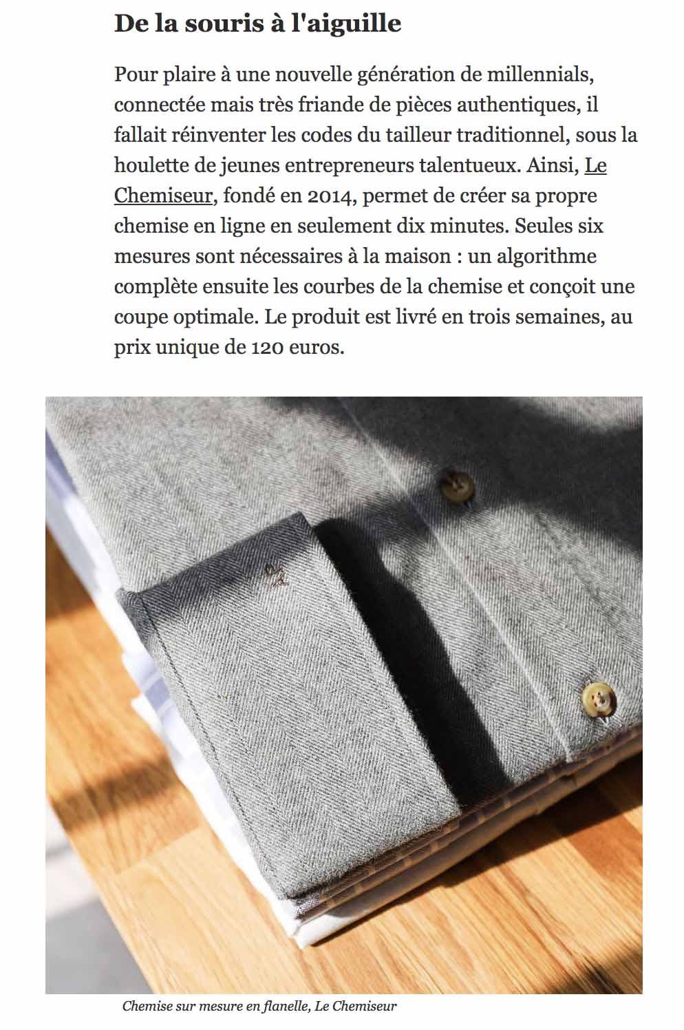 3f4257e86f6 LE CHEMISEUR® chemises sur mesure dans la presse