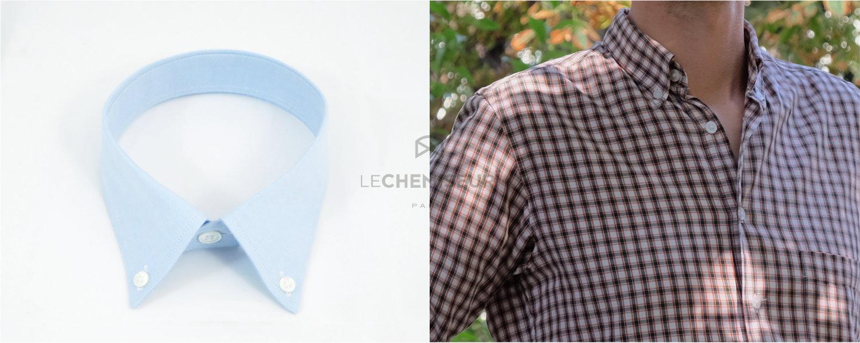 Col boutonné souple pour chemise sur mesure casual, hipster ou sportive
