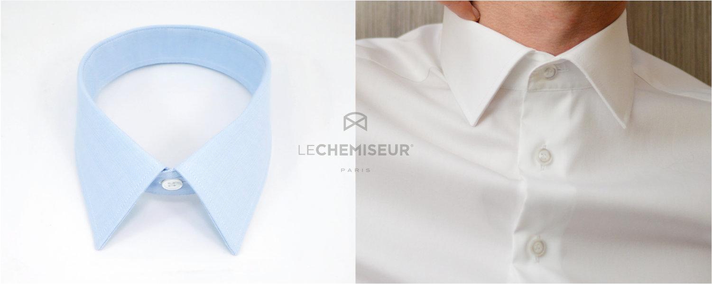 col classique d'une chemise sur mesure homme