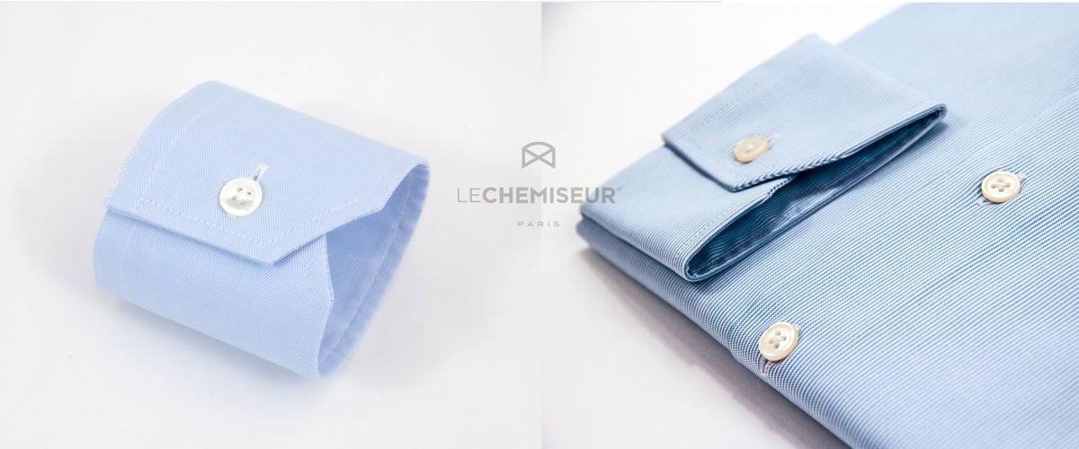 Poignet simple chemise sur mesure bleue oxford