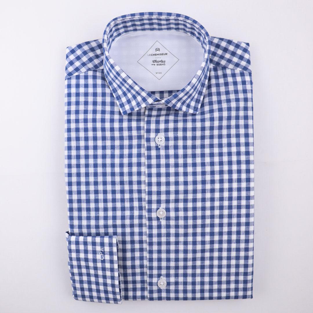chemise homme carreaux bleu vichy