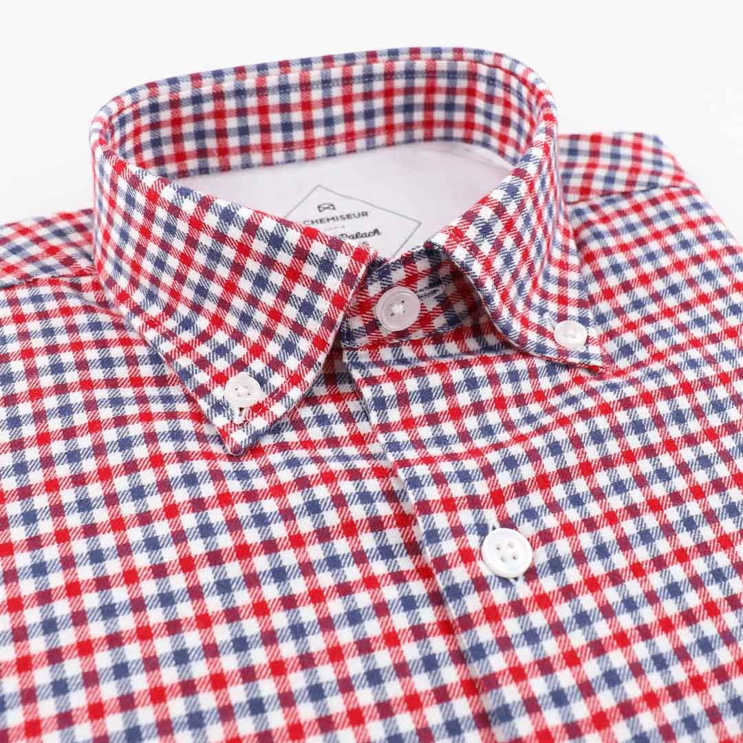 chemise flanelle homme a carreaux bleu blanc rouge