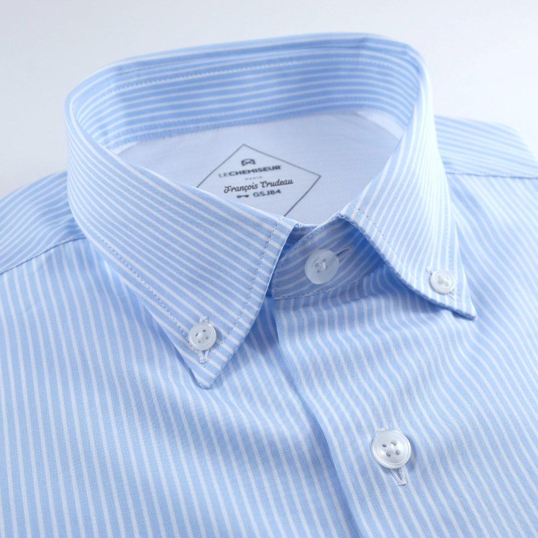 chemise homme rayures bleu