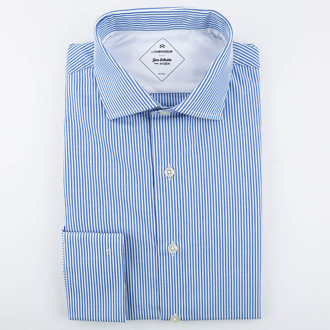 chemise homme seersucker rayé bleu