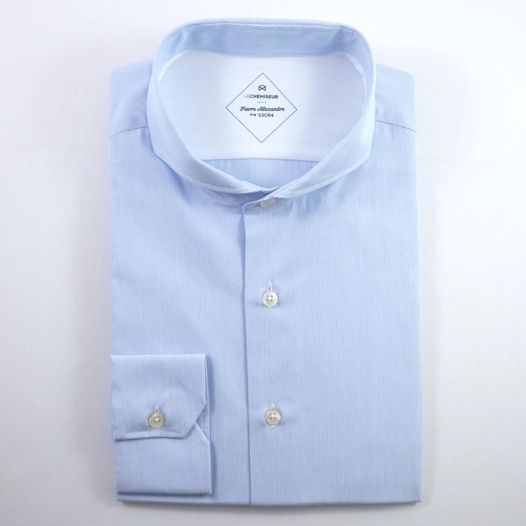 chemise homme rayée bleu