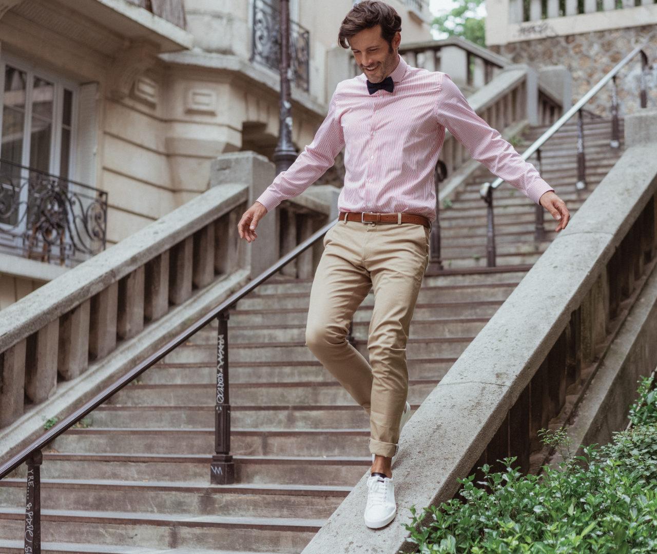 chemise homme sur mesure popeline rayee rouge