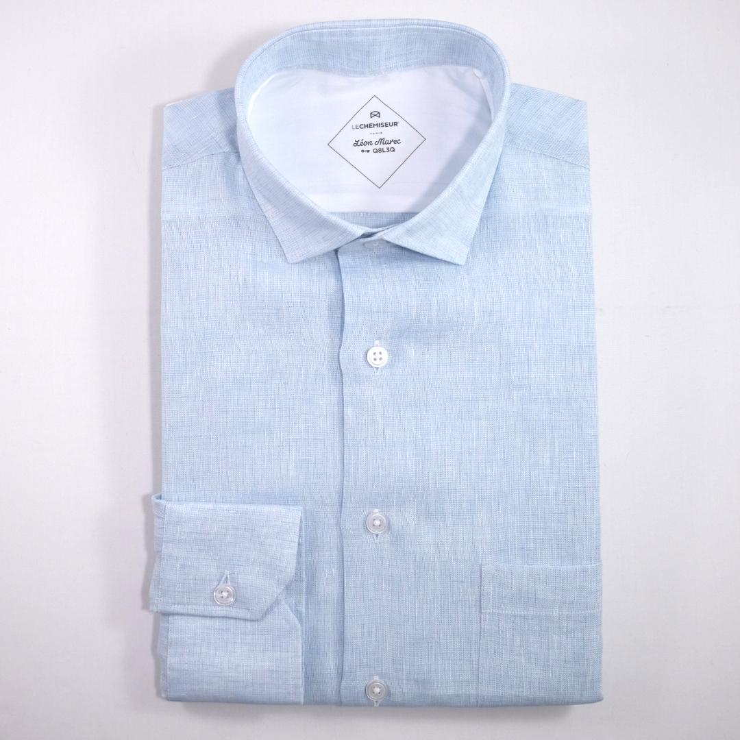 Chemise homme lin bleu