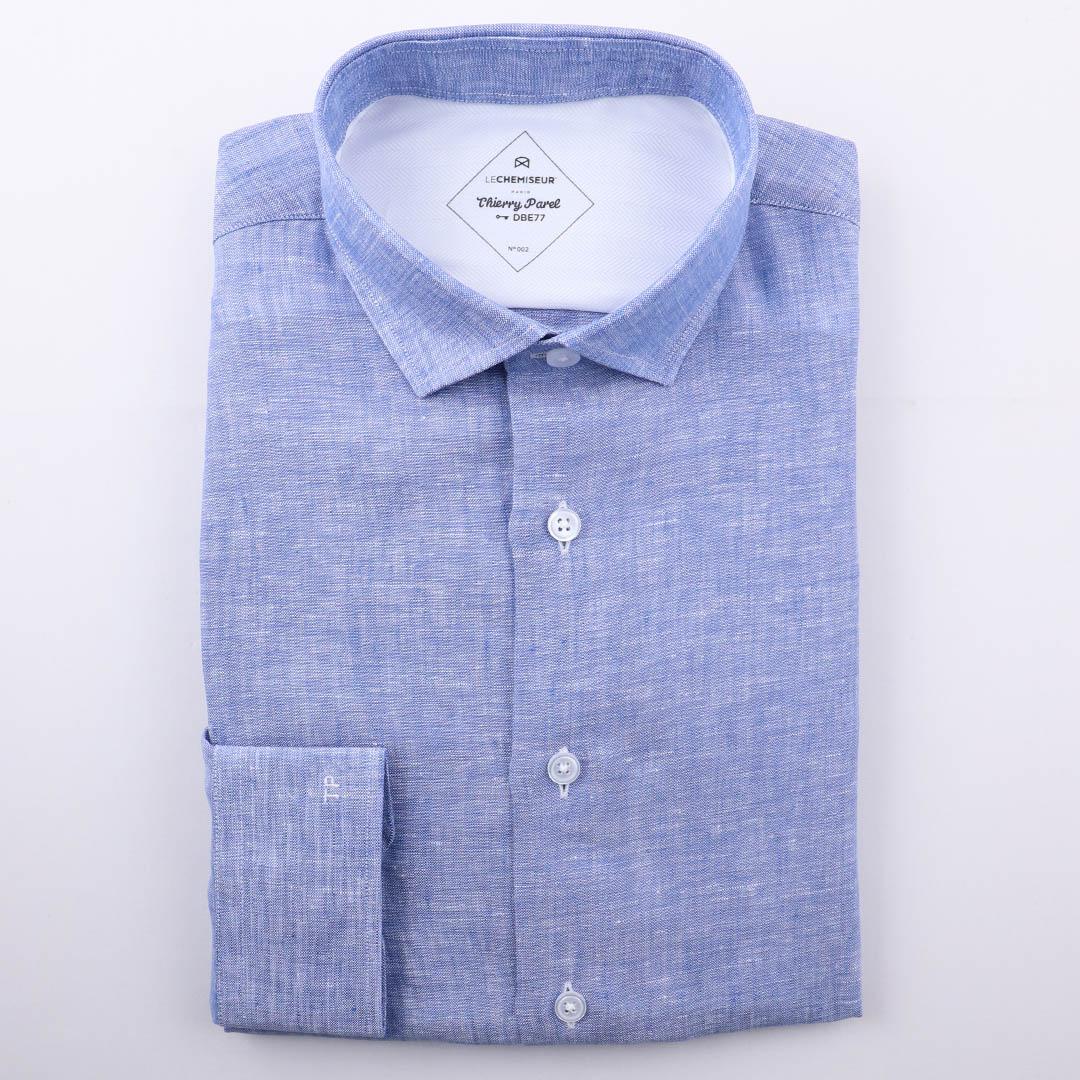 lin bleu chemise homme