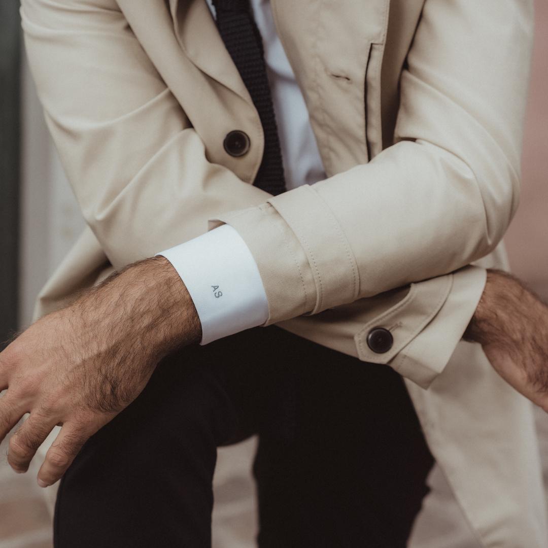 chemise homme initiales poignet